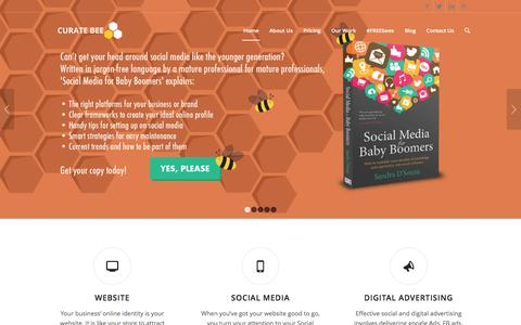 Screenshot of Home Page curatebee.com - Curate Bee   Gain an outstanding online presence that is authentically you - captured Dec. 13, 2015