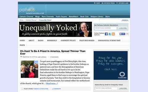 Screenshot of Home Page patheos.com - Unequally Yoked — - captured Sept. 25, 2015