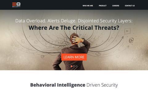 Screenshot of Home Page e8security.com - Home - E8 Security - captured Sept. 17, 2015