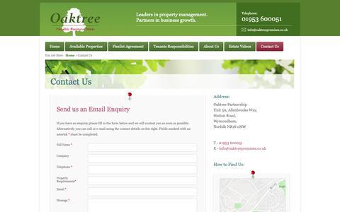 Screenshot of Contact Page oaktreeprt.co.uk - Oaktree Partnership - contact us - captured Oct. 18, 2018