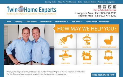 Screenshot of Home Page thetwinplumbers.com - Twin Home Experts | Los Angeles and Phoenix Plumbers - captured Oct. 9, 2014