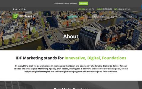 Screenshot of About Page idfmarketing.com - Digital Agency Dublin | Digital Marketing Companies Dublin - captured July 21, 2016