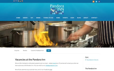 Screenshot of Jobs Page pandorainn.com - Vacancies at the Pandora Pandora Inn - captured Sept. 23, 2016