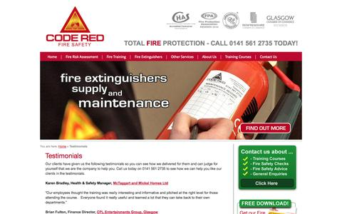 Screenshot of Testimonials Page codered-fire.co.uk - Fire Safety Testimonials   Code Red Fire - captured Oct. 3, 2014