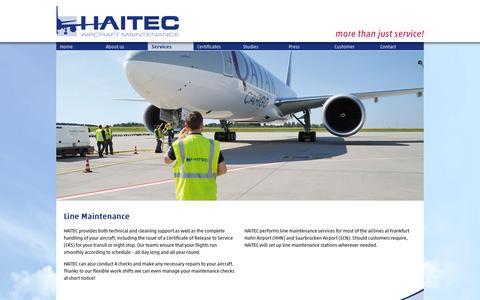 Screenshot of Services Page haitec.aero - Line - HAITEC - captured Oct. 1, 2014