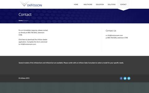 Screenshot of Contact Page invisioncam.com - Contact | inVision | Integrated Technology Solutions - captured Feb. 11, 2016