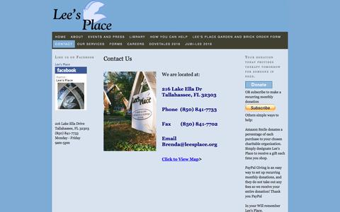 Screenshot of Contact Page leesplace.org - Contact Us — Lee's Place - captured Nov. 6, 2016