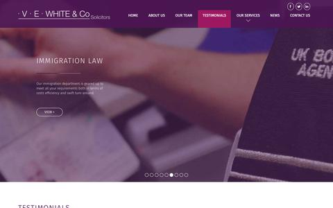 Screenshot of Testimonials Page vewhitesolicitors.co.uk - V.E. White & Co | Testimonials - V.E. White & Co - captured Oct. 18, 2018
