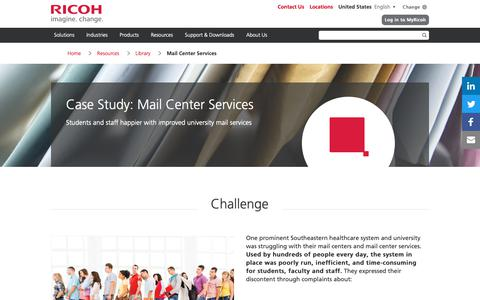 Screenshot of Case Studies Page ricoh-usa.com - Case Study: Mail Center Services | Ricoh USA - captured Jan. 3, 2019