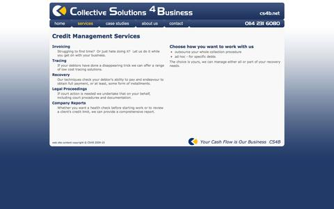 Screenshot of Services Page Terms Page cs4b.net - Credit Management Sheffield - Collective Solutions 4 Business - captured Jan. 30, 2016