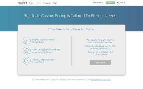 Screenshot of Pricing Page riskified.com - Pricing   Riskified eCommerce Fraud Prevention Solution - captured Oct. 17, 2015