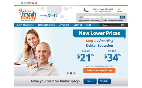 Screenshot of Home Page startfreshtoday.com - Bankruptcy Credit Counseling and Debtor Education | Start Fresh Today - captured June 17, 2017
