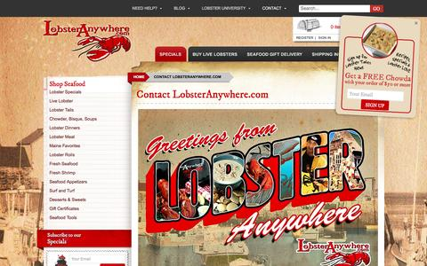 Screenshot of Contact Page lobsteranywhere.com - Contact - LobsterAnywhere.com - captured Nov. 12, 2016