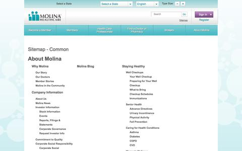 Screenshot of Site Map Page molinahealthcare.com - Sitemap | Molina Healthcare - captured Nov. 6, 2019