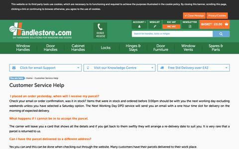 Screenshot of Support Page handlestore.com - Customer Service Help - captured Sept. 26, 2018