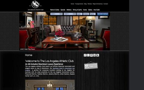 Screenshot of Home Page laachotel.com - Boutique hotel in downtown Los Angeles - Los Angeles Athletic Club - captured Oct. 8, 2015