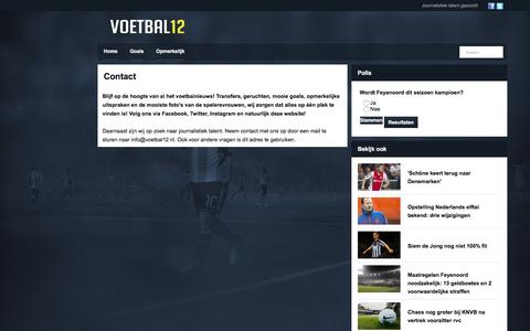 Screenshot of Contact Page voetbal12.nl - Contact - captured Jan. 26, 2017