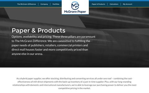Screenshot of Products Page mcgrann.com - Paper & Products | Inventory | McGrann Paper - captured Nov. 28, 2016