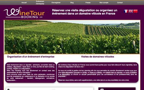 Screenshot of Home Page winetourbooking.com - Wine Tour Booking - Réserver une visite dégustation dans le vignoble de Bordeaux | Les châteaux du vignoble de Bordeaux vous attendent pour vous faire découvrir leurs vins ... - captured Oct. 1, 2014