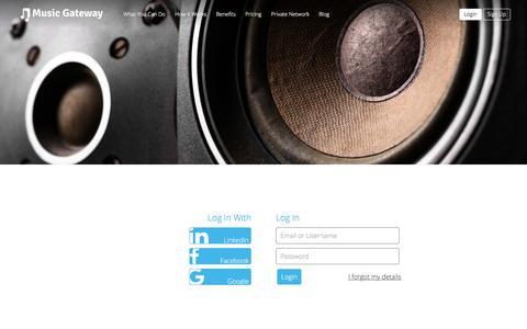Screenshot of Login Page musicgateway.net - Login to the Music Industry Business Platform - captured Aug. 22, 2016