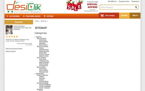 Screenshot of Site Map Page desiclik.com - Sitemap | Indian Clothes,Jewelry,Handicrafts,Sweets,Gifts Online @ DesiClik, USA - captured Jan. 18, 2016