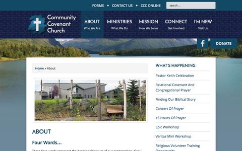 Screenshot of About Page communitycovenant.net - About - captured Oct. 22, 2014
