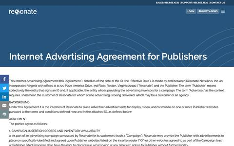 Screenshot of Terms Page resonate.com - Terms Conditions Publishers - Resonate - captured Jan. 14, 2019