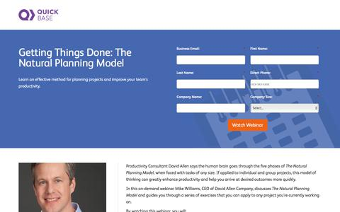 Screenshot of Landing Page quickbase.com - Getting Things Done: Webinar Registration - captured March 27, 2018