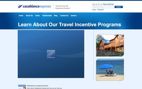 Screenshot of Products Page casablancaexpress.com - Learn About Our Travel Incentive Programs | Casablanca Express - captured Sept. 26, 2014