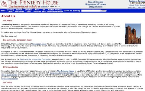 Screenshot of About Page printeryhouse.org - About The Printery House | Buy Christian Greeting Cards & Catholic Gifts Online - captured Oct. 9, 2014