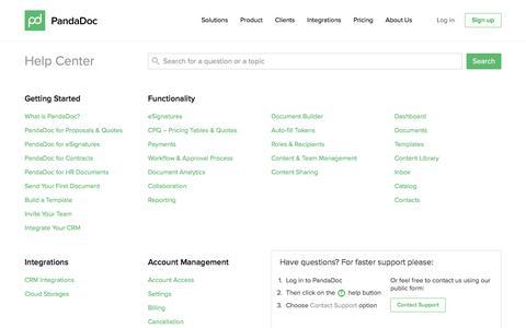 Screenshot of FAQ Page pandadoc.com - FAQs - captured July 20, 2016