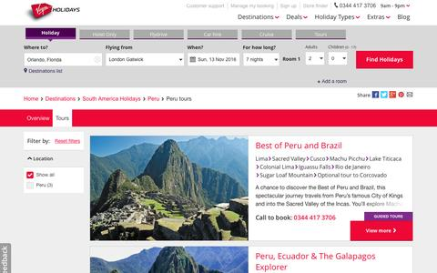Screenshot of virginholidays.co.uk - Peru Tours   Virgin Holidays - captured Nov. 1, 2016