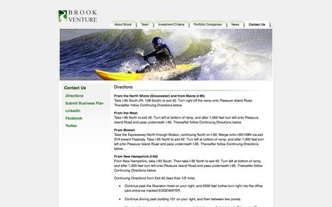 Screenshot of Maps & Directions Page brookventure.com - Brook Venture - Directions - captured Oct. 5, 2014