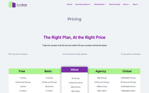 Screenshot of Pricing Page deskzone.com - Pricing - DeskZone - captured Aug. 1, 2016