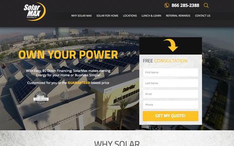 Screenshot of Home Page solarmaxtech.com - SolarMax Technology - CA Solar Panel Installation & Financing - captured Oct. 1, 2015