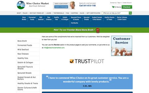 Screenshot of Support Page wisechoicemarket.com - Our Customer Service - captured Nov. 1, 2017