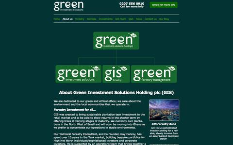 Screenshot of About Page greenis.co.uk - Green Forestry Investment with Green Investment Solutions - captured Sept. 25, 2014