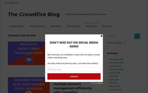 Screenshot of Case Studies Page crowdfireapp.com - Case Studies Archives - The Crowdfire Blog - captured Dec. 9, 2019