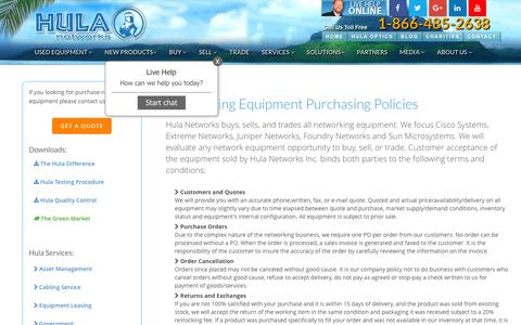 Screenshot of Terms Page hulanetworks.com - Policies For Purchasing Networking Equipment ~ Hula Networks - captured July 18, 2016