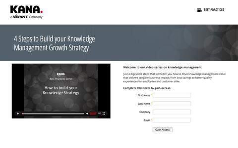 Screenshot of Landing Page kana.com - 4 Steps to Build your Knowledge Management Growth Strategy :: KANA - captured Oct. 27, 2014