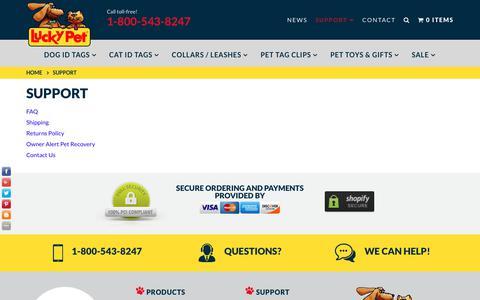 Screenshot of Support Page luckypet.com - Support – LuckyPet - captured Sept. 23, 2018
