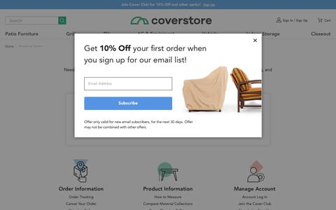 Screenshot of Contact Page the-cover-store.com - Resource Center | Coverstore - captured Sept. 20, 2018