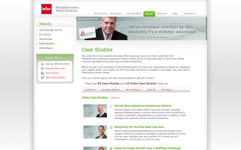 Screenshot of Case Studies Page peopleanswers.com - Case Studies | Reducing Turnover and Improving Performance | PeopleAnswers - captured Oct. 29, 2014