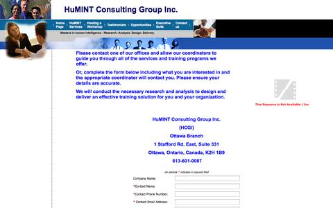 Screenshot of Contact Page humint.ca - HUMINT Consulting Group Inc. - Masters in human intelligence. - captured Oct. 3, 2014