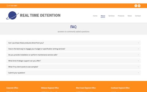 Screenshot of FAQ Page realtimedetention.com - Prison Facility Product Info, Correctional Facility Services - captured Dec. 18, 2016