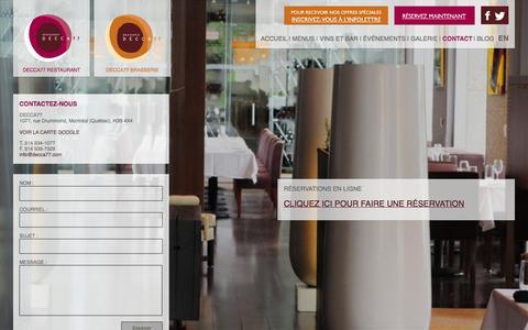 Screenshot of Contact Page decca77.com - DECCA 77 - captured Sept. 30, 2014