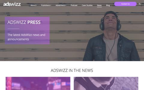 Screenshot of Press Page adswizz.com - View The Latest Press and News - Adswizz - captured July 13, 2018