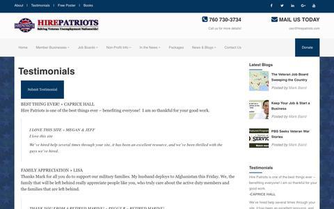 Screenshot of Testimonials Page hirepatriots.com - Testimonials - HirePatriots.com - captured July 22, 2017