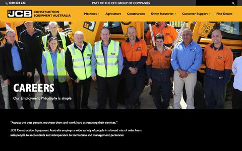 Screenshot of Jobs Page jcbcea.com.au - Careers - JCB Construction Equipment Australia - captured Oct. 1, 2018