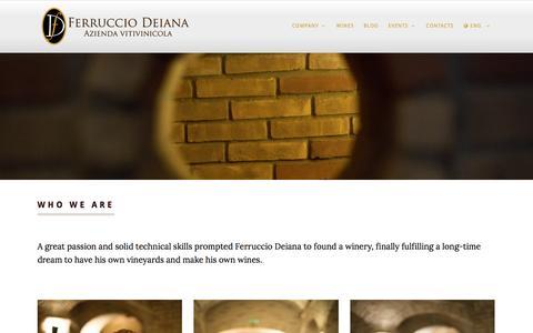 Screenshot of About Page Team Page ferrucciodeiana.it - About us, Milestones, Ferruccio Deiana - Wine Company - Discover the quality of wines Vermentino, Monica, Cannonau born under the sun of Sardinia. - captured Nov. 25, 2016